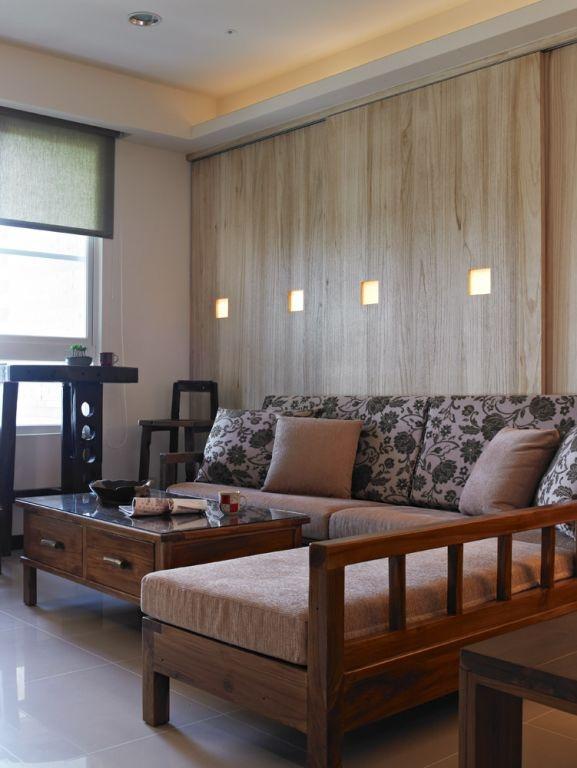 日式实木客厅沙发图片