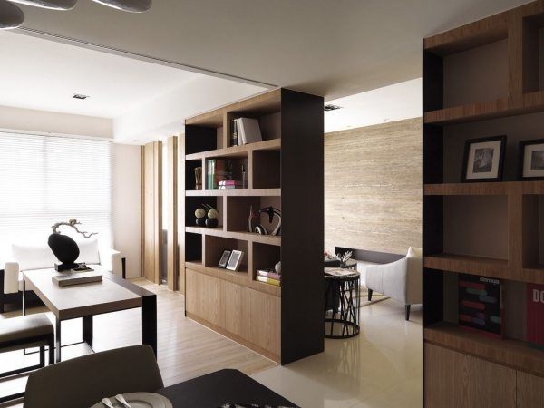 現代日式風格室內博古架設計效果圖
