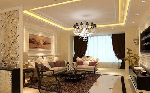 客厅电视背景墙用淡雅壁纸和石膏线条做的欧式造型,简约精致