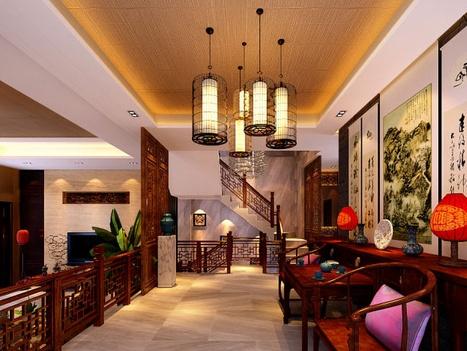 中國傳統的室內設計融合了莊重與優雅雙重氣質?,F代的中式風格更多的利用了后現代手法,客廳里擺一套明清式的紅木家具,墻上掛一幅中國山水畫,傳統的書房自然燒不來書柜、書案以及文房四寶。中式風格的客廳具有內蘊的風格,為了舒服,中式的環境中也常常用到沙發,但顏色仍然體現著中式的古樸,中式這樣表現使整體空間,傳統中透著現代,現代中揉著古典。因此書法常常成就這種詩意的最好手段。這樣躺在舒服的沙發上,任千年的故事順指間流淌。
