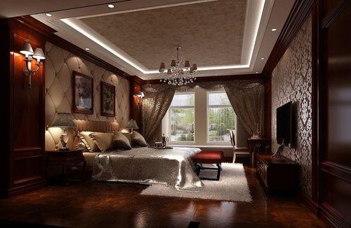 主卧也采用深色护墙板和欧式壁纸,使之与整体风格一致,床头使用软包装