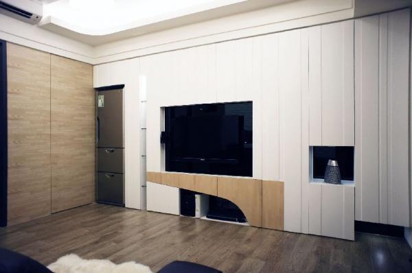 現代日式家庭室內電視背景墻設計