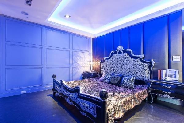 欧式古典蓝色卧室装修