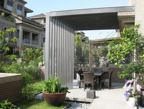 现代别墅室外餐厅装饰设计效果图