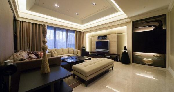 现代复古风别墅室内装修设计效果图