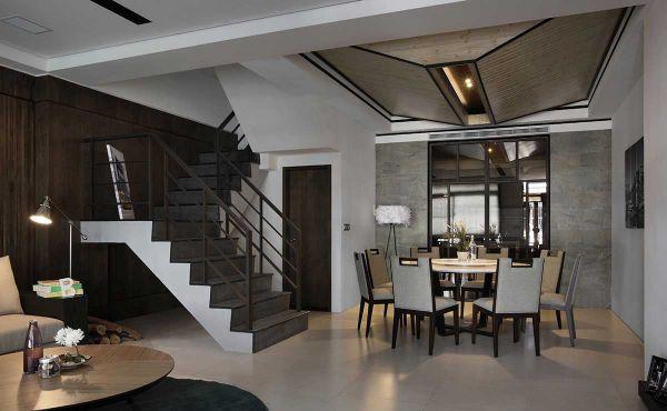 现代别墅室内楼梯设计效果图