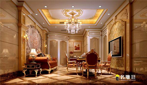 客厅设计四条大理石柱子,稳重,豪华,大气.
