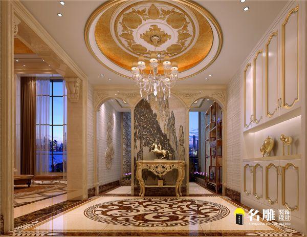 客廳設計四條大理石柱子,穩重,豪華,大氣.