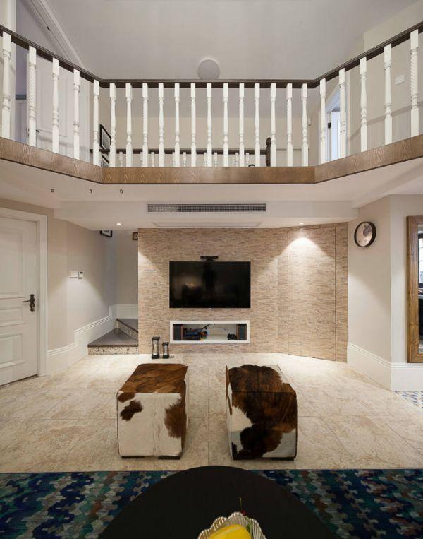 美式风格别墅室内电视背景墙效果图