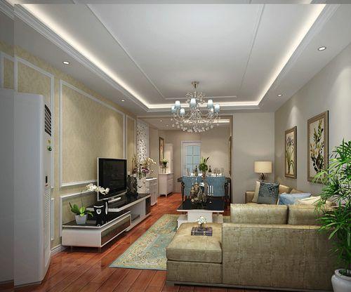 体现了欧式暖色调的风格,客厅的吊顶以灯槽灯带装饰,从灯光中体现欧式