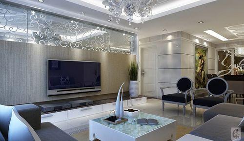 客厅电视背景墙采用石膏板造型设计贴素色壁纸