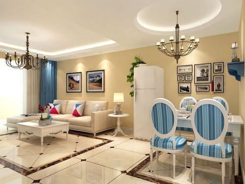 餐厅石膏板吊圆形造型顶与客厅区域划分,黄色的墙漆配上蓝色餐椅也是