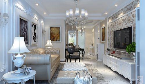 客厅简洁吊顶,石膏板造型沙发背景,电视背景墙采用石膏板造型,素色