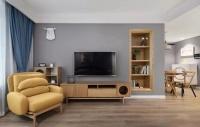 灰電視墻+開放式隔板架,高級感和強大儲物功能