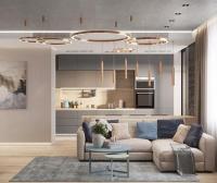120㎡現代輕奢風公寓設計,藍粉金的完美結合