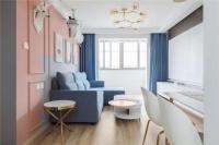 65㎡北歐風兩居室,灰粉+灰藍拼色墻太好看了