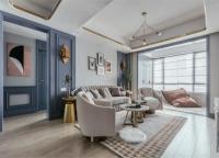 132㎡美式轻奢,墙面蓝色造型,吊顶金属线框