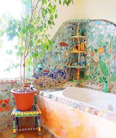 卫生间马赛克瓷砖铺贴效果图——东南亚风格