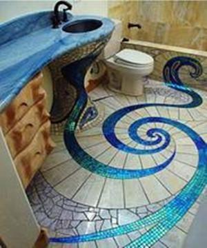 卫生间马赛克瓷砖铺贴效果图——马赛克地面