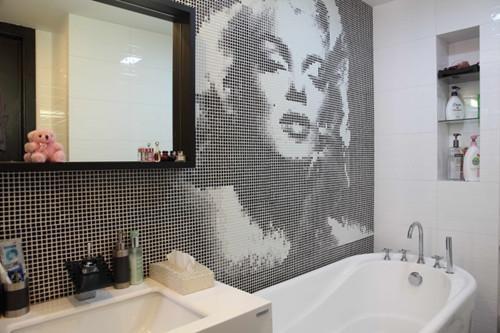 衛生間馬賽克瓷磚鋪貼效果圖——馬賽克美女