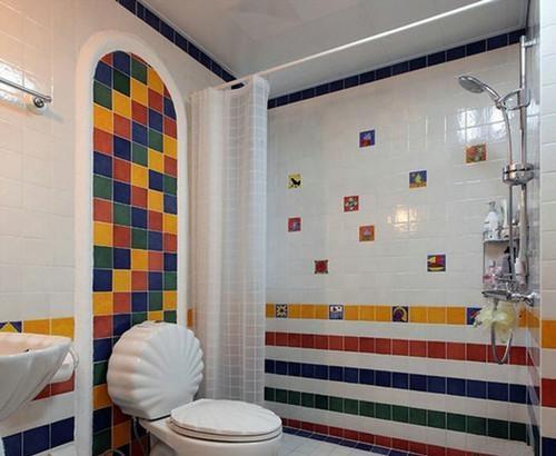 衛生間馬賽克瓷磚鋪貼效果圖——地中海風格馬賽克瓷磚