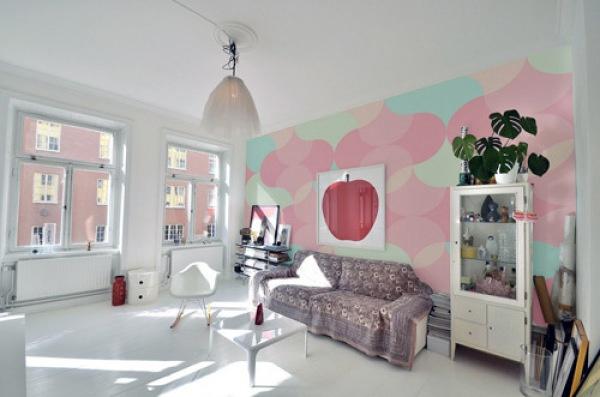 水粉手绘客厅效果图