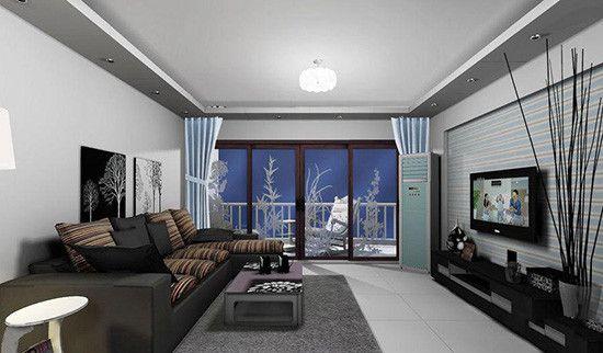 在装修设计客厅电视墙颜色的时候,可以选择清雅的寒色系,像是浅蓝色