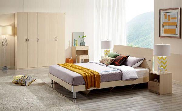 全友家私现代简约实木床 床头柜*2 床垫 衣柜组合