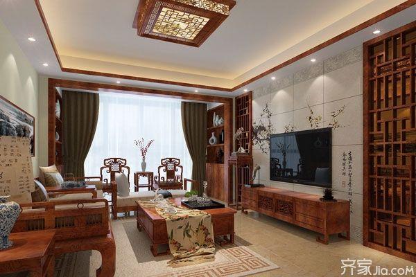 中式客厅电视背景墙 古典美学的完美尽显