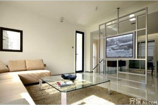 客厅隔断电视墙还可以使用一个铁艺框架来搭建,顶层和地面之间用一根中间支柱把整个电视背景框架给固定住,框架的区域不要太大,占据整个通道的三分之二就可以了,但框架要保证中间留出电视机的位置,这样的电视背景墙设计,能让隔断变得透明,也方便了我们从两边过道行走,电视背景墙框架设计让空间看起来更加简洁明了,客厅也变得更加时尚了。 半隔断电视背景墙之造型设计